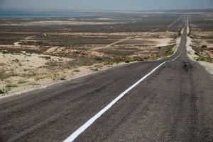 Road to Turkmenistan, near Kendirli, Mangystau Region, Kazkahstan