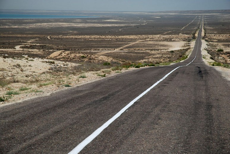 Road to Turkmenistan, near Kendirli, Mangystau Region, Kazkahstan