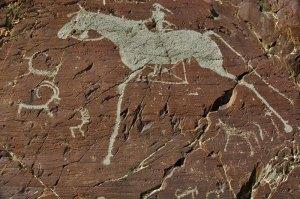 Petroglyphs, Mt Sheveet, Bayan-Ölgii Province, Mongolia