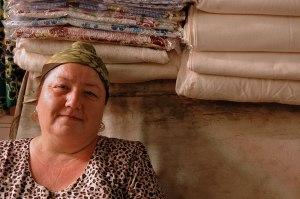 Uzbek Clothseller, Khujand, Sughd Region, Tajikistan