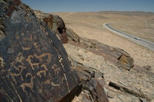 Petroglyphs, near Debaland, Navoiy Region, Uzbekistan