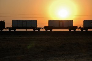Freight Wagons, near Beyneu, Mangystau Region, Kazakhstan
